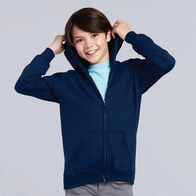 G88600B Gildan Heavy Blend Youth Full Zip Hooded Sweatshirt