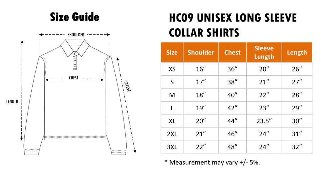 Size Chart of HC09 Honey Comb Long Sleeve Polo Tee