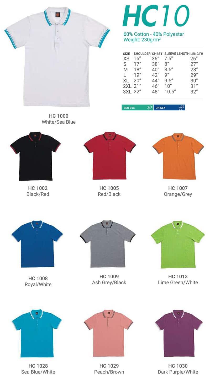 HC10 Color Chart