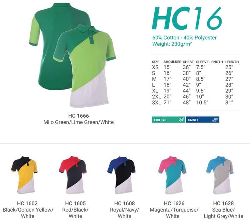 HC16 Color Chart