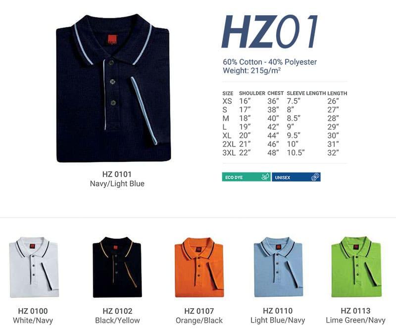 HZ01 Color Chart