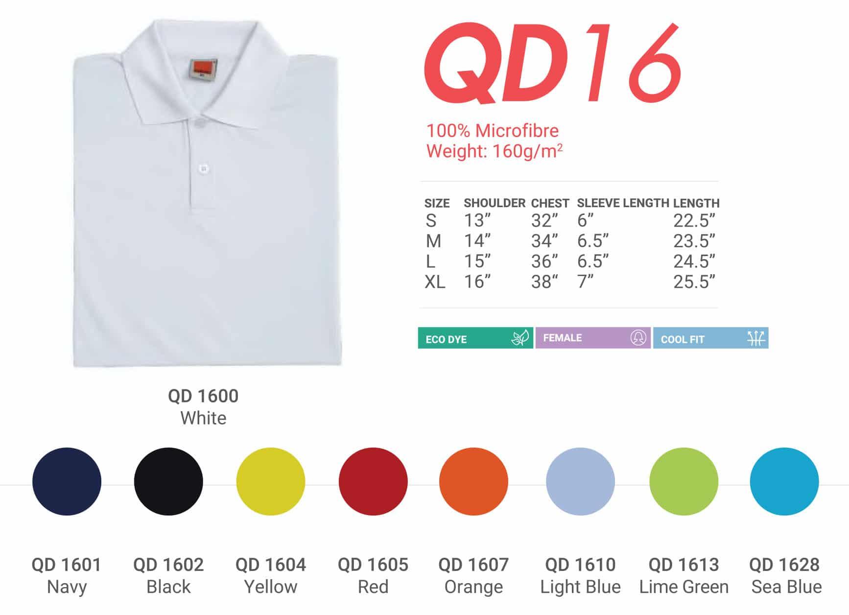QD16 Color Chart