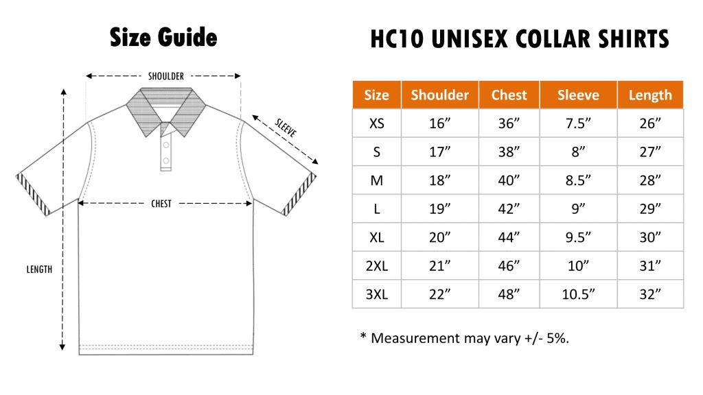 Size Chart of HC10 Honey Comb Polo Tee