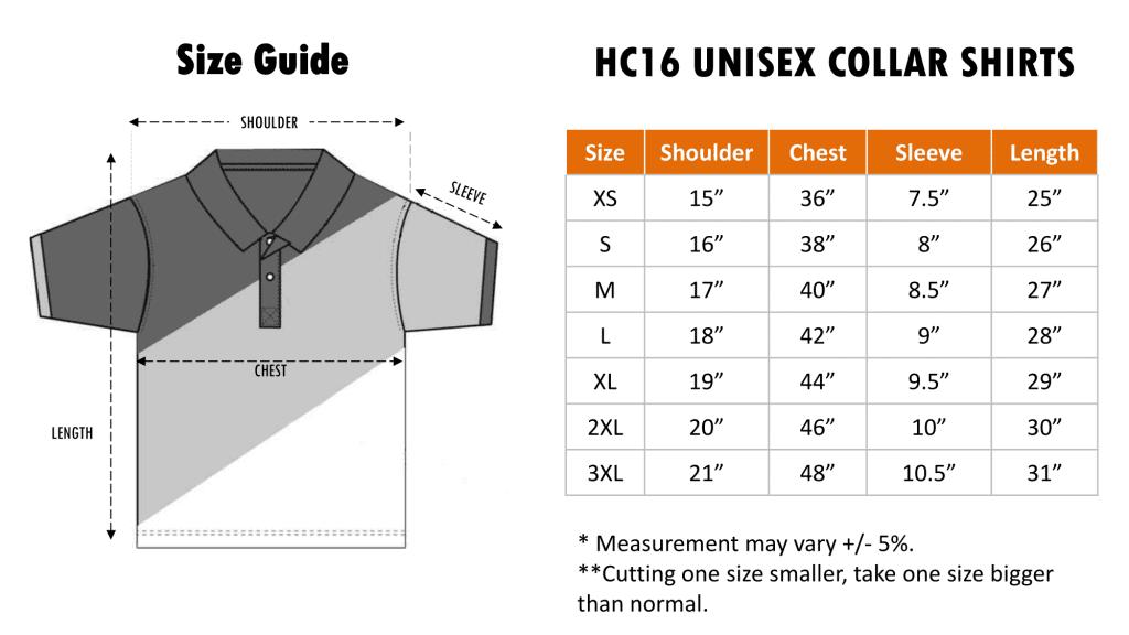 Size Chart of HC16 Honey Comb Polo Tee