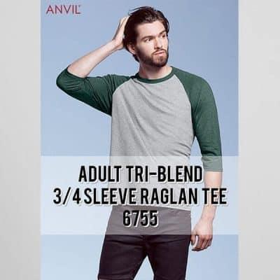 A6755 TRI-BLEND 3/4 SLEEVE RAGLAN TEE