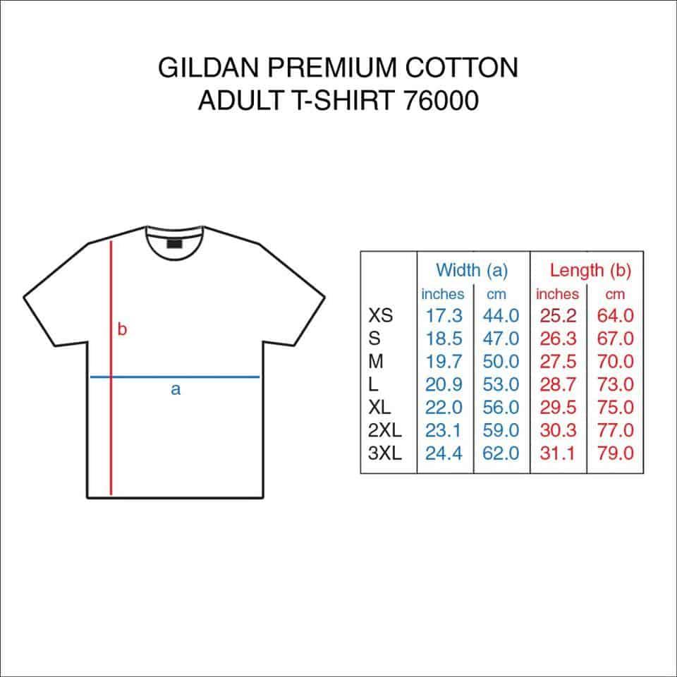 G76000 gildan premium cotton t shirt for Gildan t shirt size chart