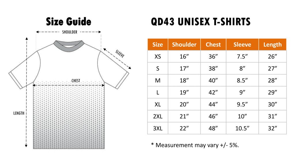 Size chart of QD43 Quick Dry T-shirt