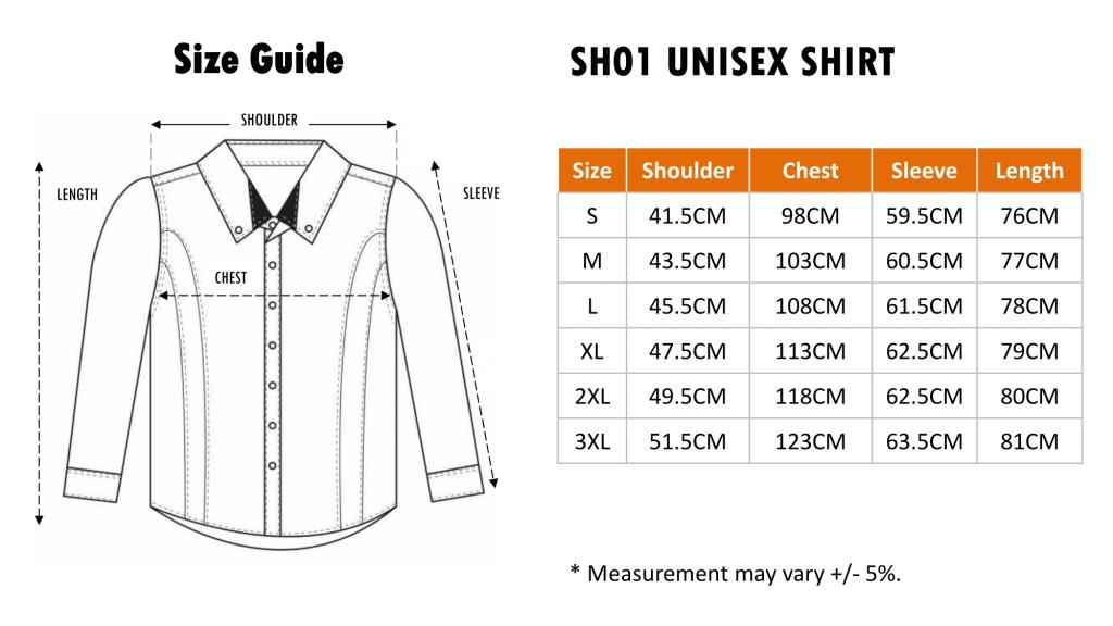Size Chart of SH01 Corporate Shirt