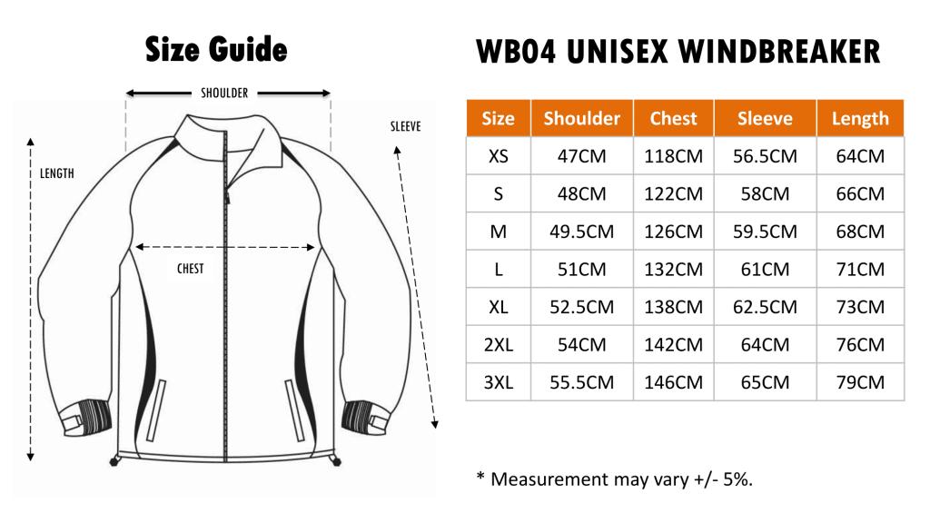 Size Chart of WB04 Windbreaker