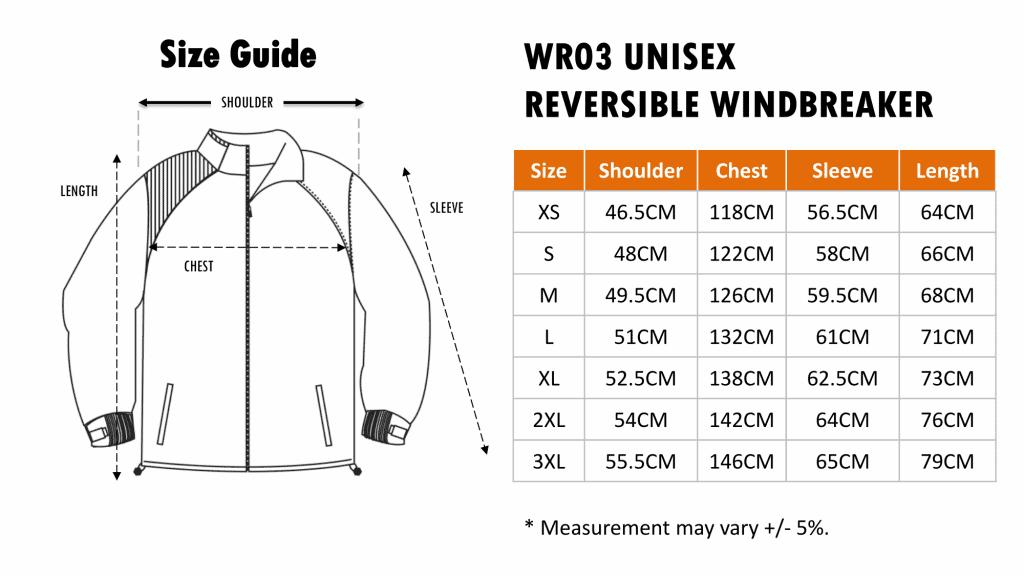 Size Chart of WR03 Reversible Windbreaker