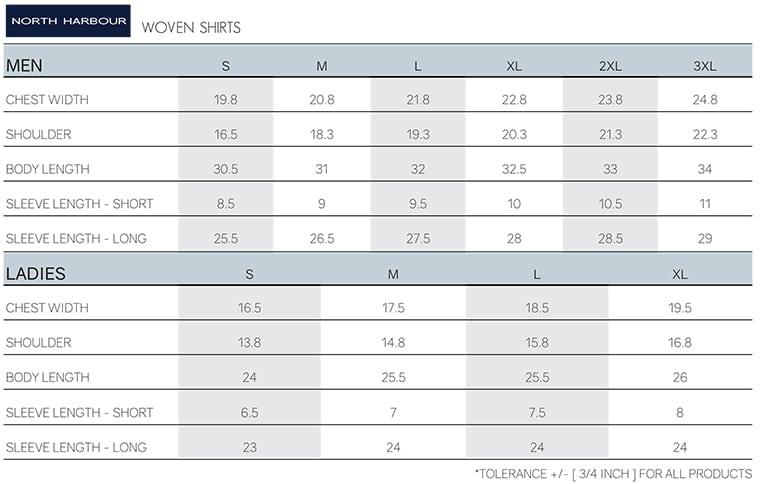 Size Chart of NHB_Wovenshirt