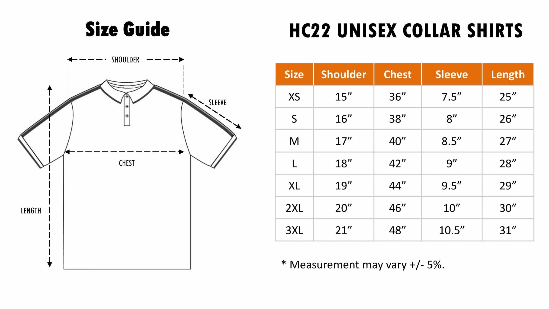 HC22 Size Chart