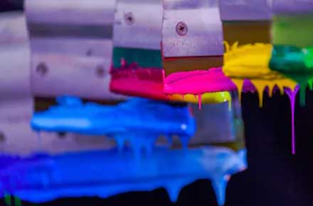 multiple squeegee with silk screen ink