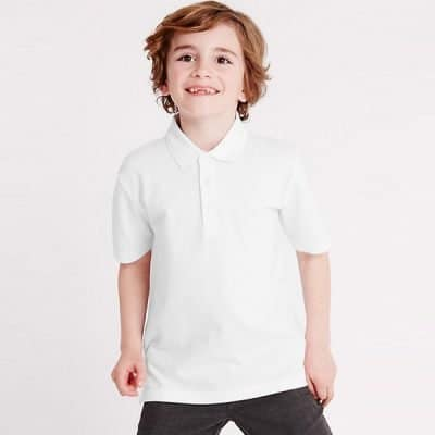 KP01 Kid wearing White Polo Tee
