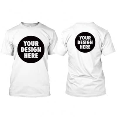 Round Neck T Shirt with customized front A3 and back A4 size printing