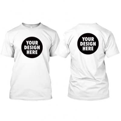 Round Neck T Shirt with customized front and back A4 size printing