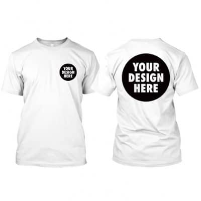 Round Neck T Shirt with customized front logo and back A3 size printing